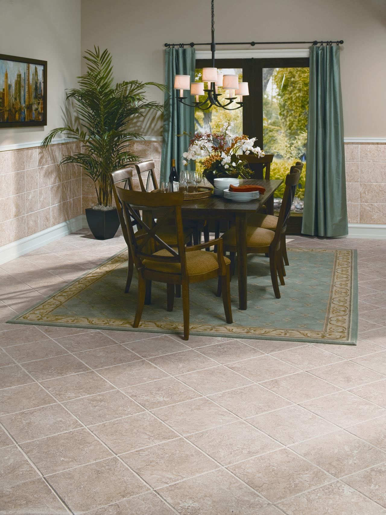 Tile floors home remodeling ideas for basements home for Flooring ideas for kitchen and dining room